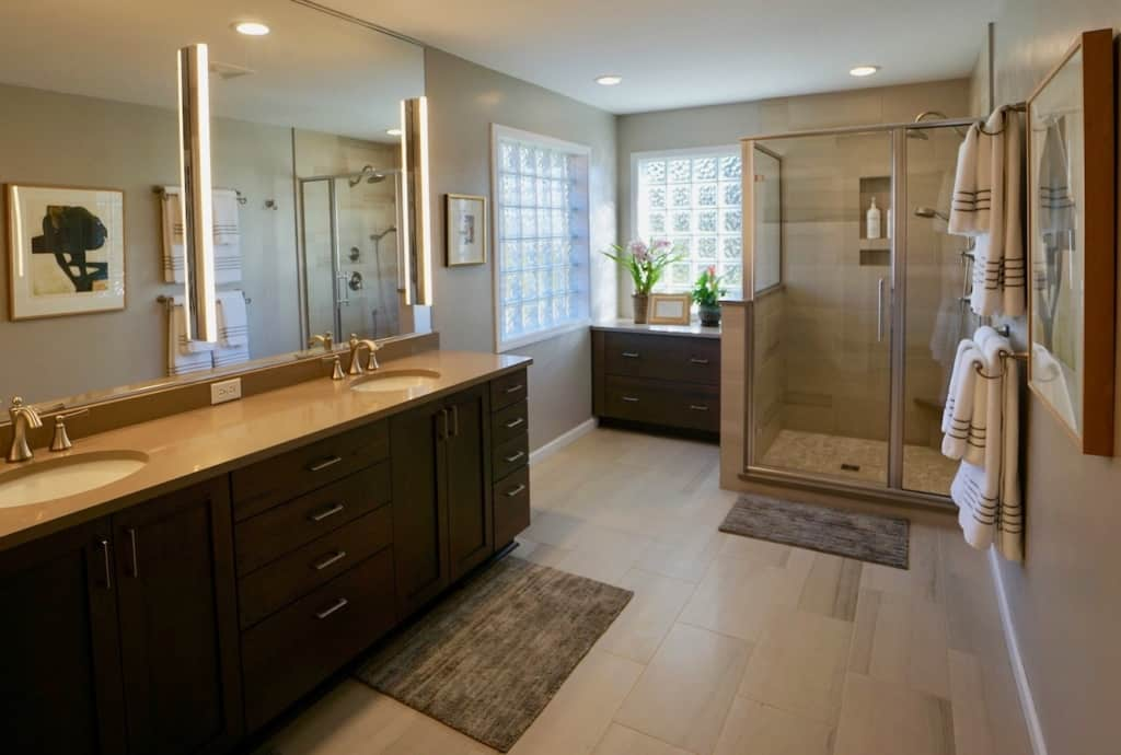 Bathroom Remodel with Two Sinks, Shower Enclosure